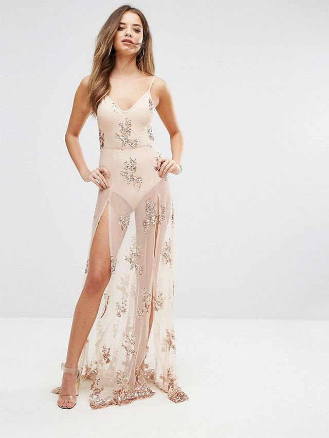 See julianne houghs naked wedding reception dress whowhatwear naanaa maxi dress in sequin with bodysuit junglespirit