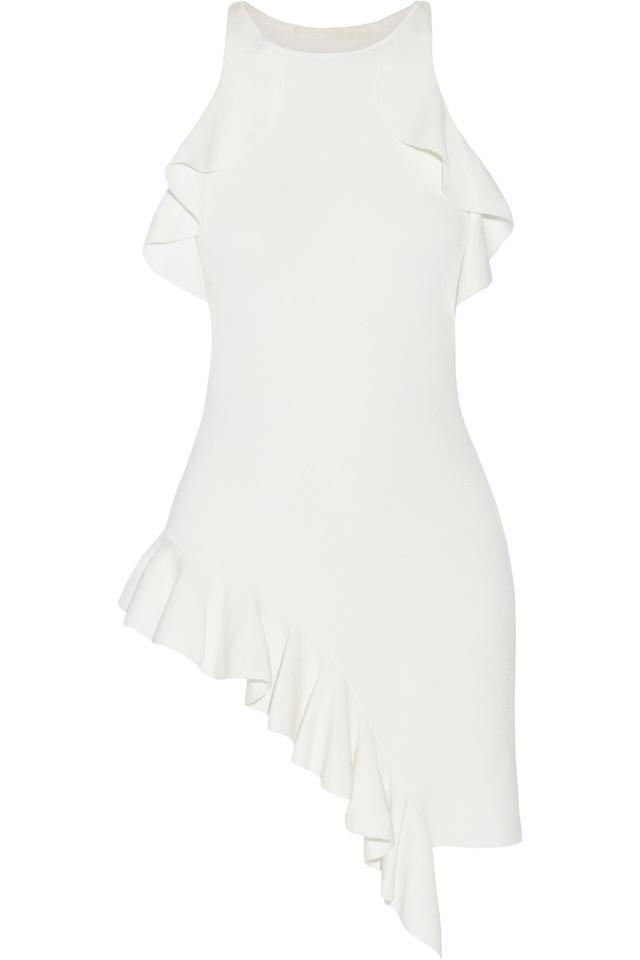 Cold-shoulder Asymmetric Ruffled Stretch-knit Top
