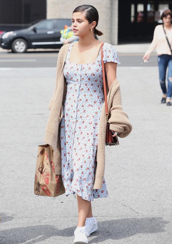 Selena Gomez in a Reformation dress