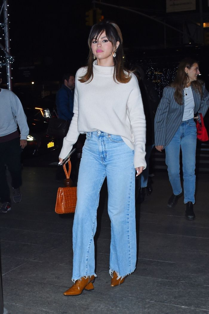 Selena Gomez Sweater and Wide Leg Jeans