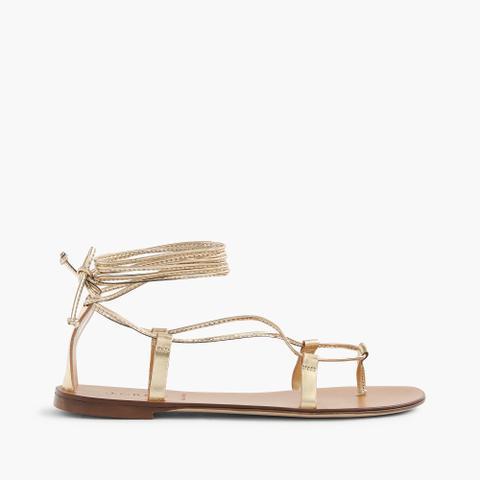 Metallic Lace-Up Sandals in Metallic Gold