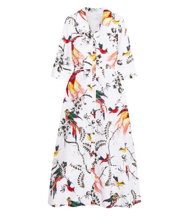 Erdem Kaisa Printed Cotton-Poplin Midi Dress
