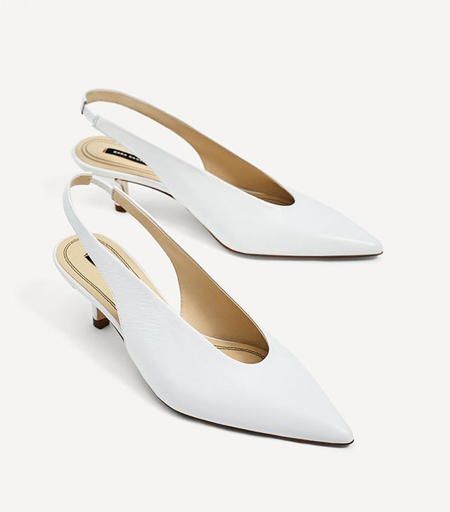 These Are the Most Aging Shoe Styles: Zara Slingback Leather High Heel Shoes