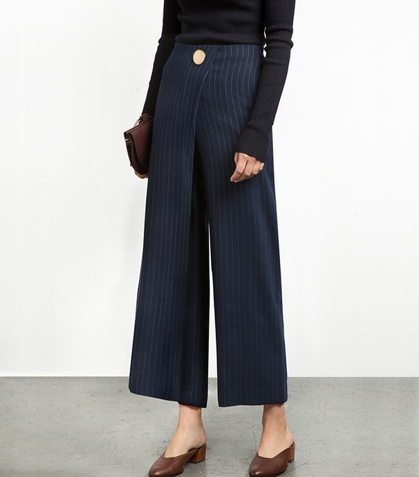 Pinstripe Button Wrap Pants
