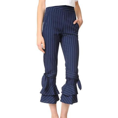 Pinstripe Ruffle Hem Pants
