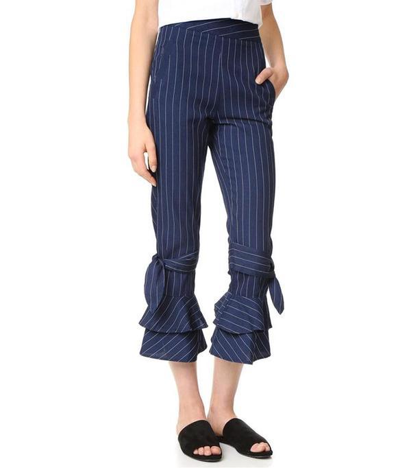N/ Pinstripe Ruffle Hem Pants