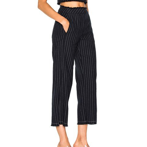 Cotton Burlap High-Waisted Cropped Pant