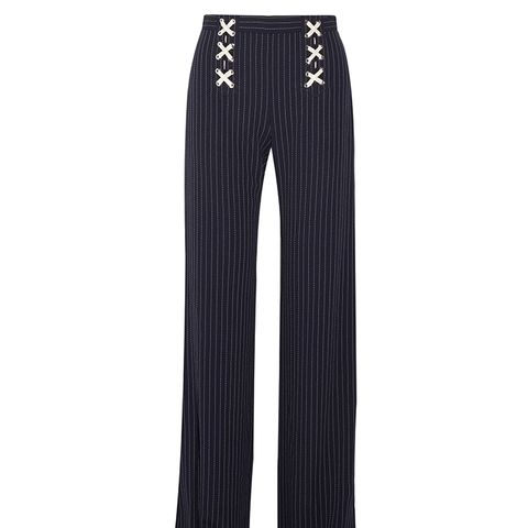 Quinn Lace-Up Striped Crepe Wide-Leg Pants