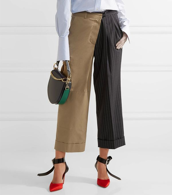 Paneled Cotton-twill And Pinstriped Wool Wide-leg Pants