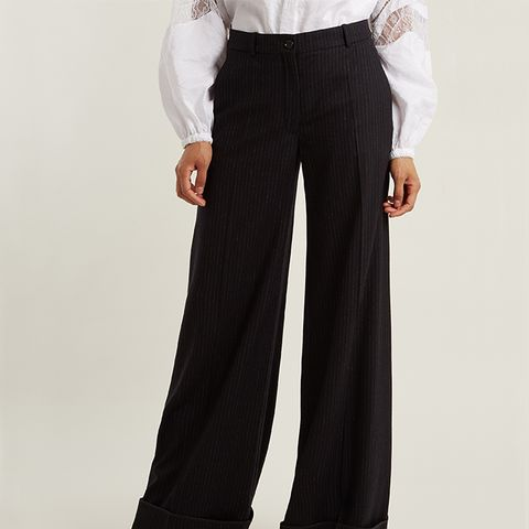 Pinstriped Wide-Leg Stretch-Wool Trousers