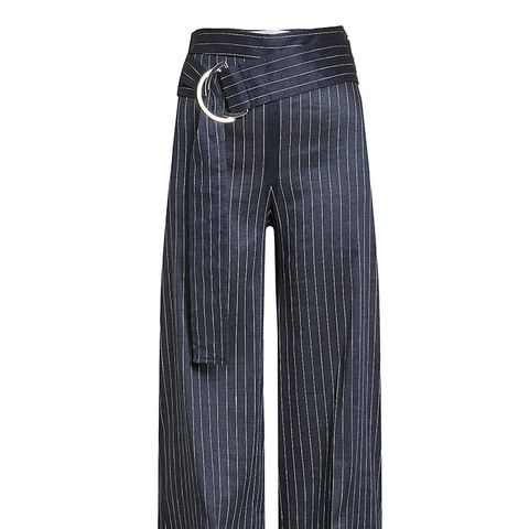 Front-Tie Pinstripe Culottes
