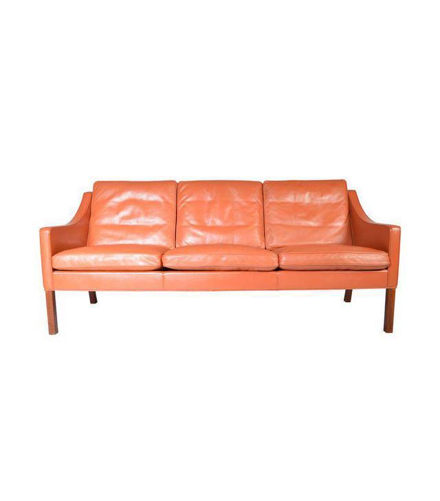 Borge Mogensen for Fredericia Danish Modern Sofa 1978 Cognac Leather