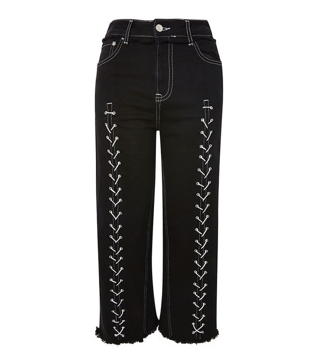 Unusual Summer 2017 Trends: MOTO Lace Up Cropped Wide Leg Jeans