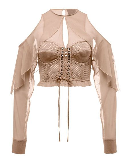 Mesh Bustier Top with Chiffon Sleeves