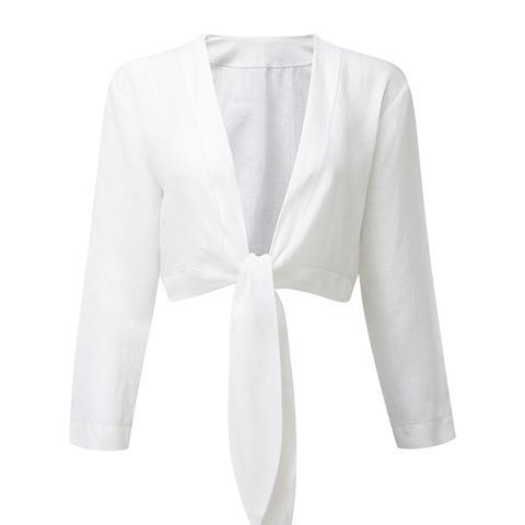 Tie White Linen Blouse