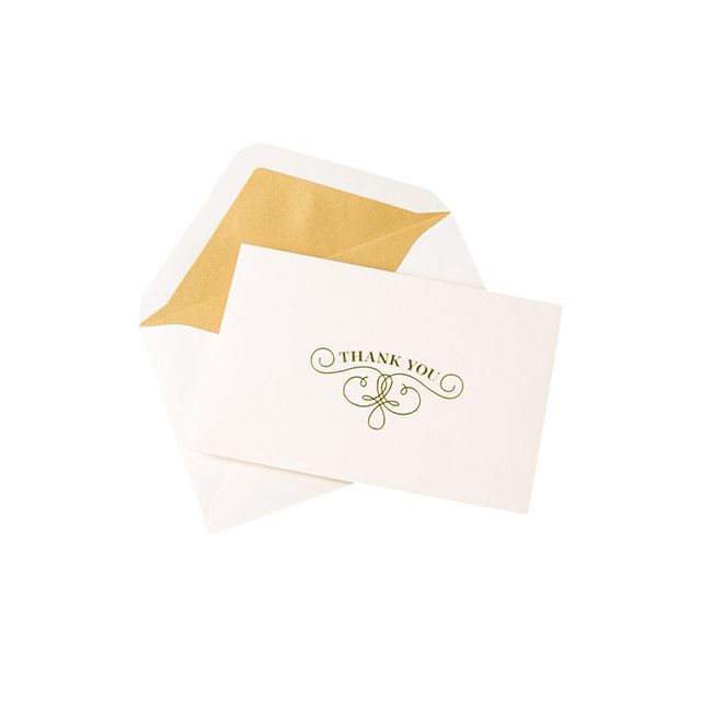 gold thank you cards box