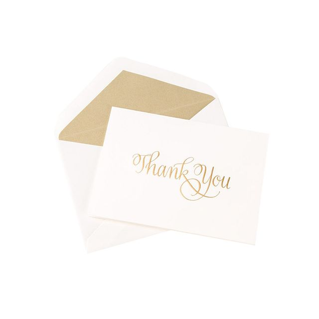 gold thank you cards