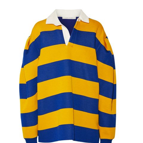 Oversized Pleated Striped Jersey Shirt