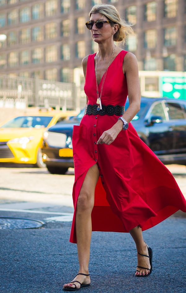 Add a figure-defining belt around the waist of a bright sundress. That's all.