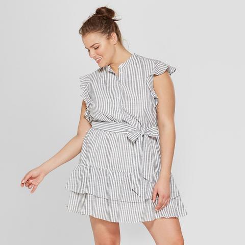 Ruffle Mini Shirt Dress