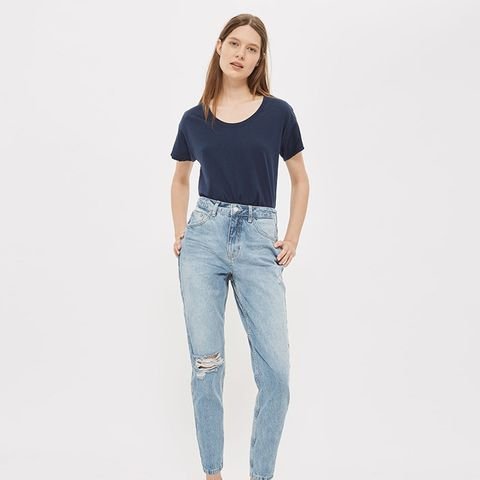 Petite Rip Mom Jeans