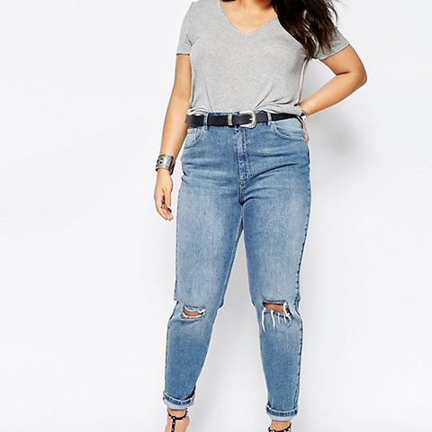 Farleigh Slim Mom Jeans in Prince Light Wash With Busted Knees