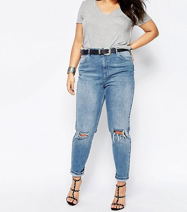 ASOS CURVE Farleigh Slim Mom Jeans in Prince Light Wash with Busted Knees