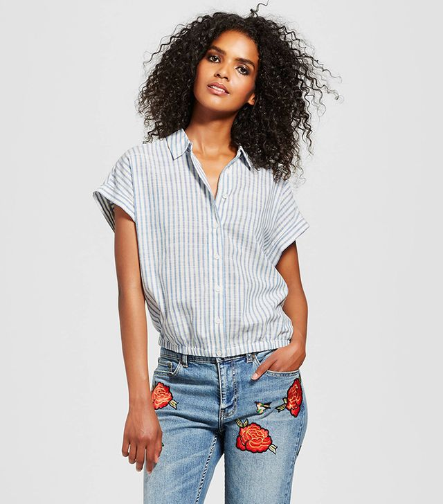 Who What Wear Gathered Hem Top in Blue Stripe