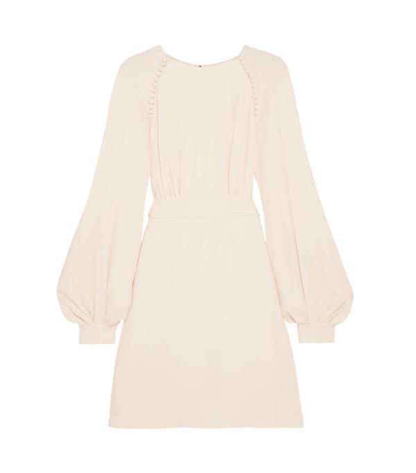 Button-detailed Crepe Mini Dress