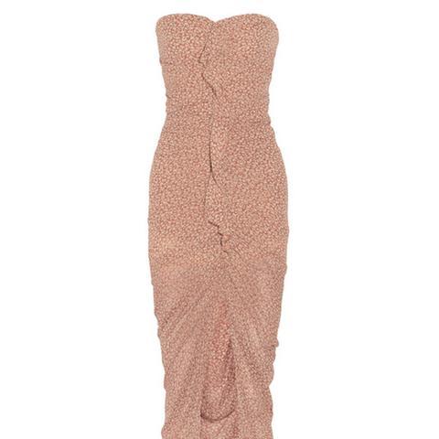Wallflower Ruched Printed Silk Crepe de Chine Dress
