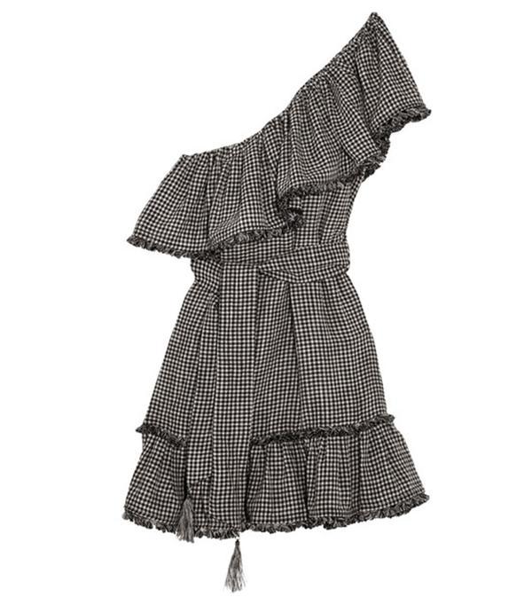 One-shoulder Gingham Linen And Cotton-blend Mini Dress