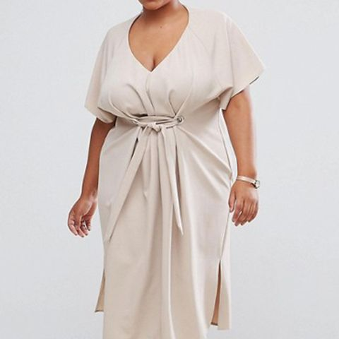 Curve V Neck Midi Column With Eyelet and Tie