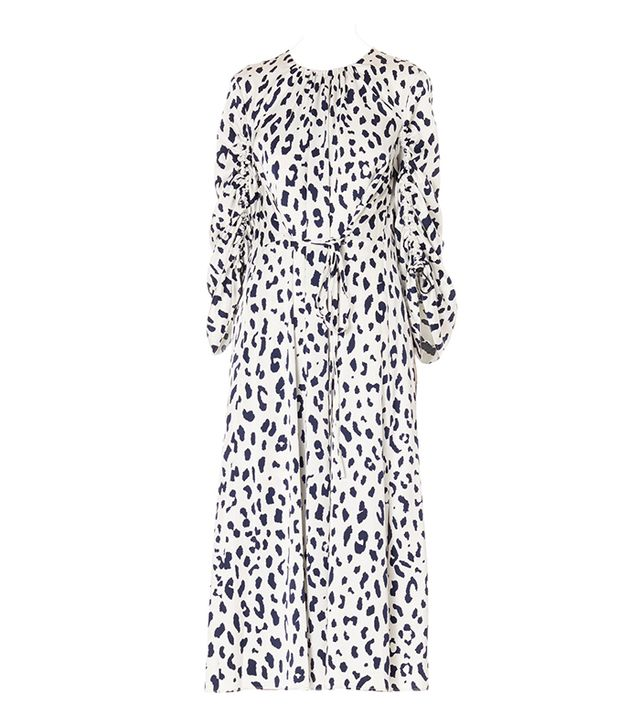 Cheetah on Hammered Satin Sculpted Sleeve Dress