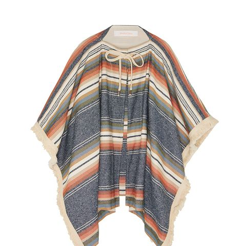 Fringed Striped Canvas Cape