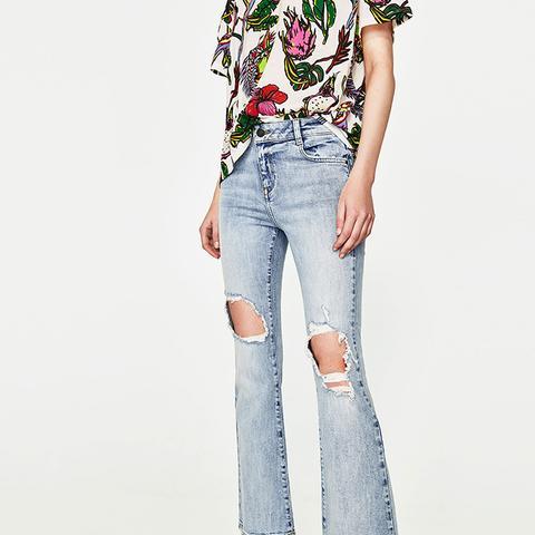 Mid-Rise Vintage Mini Flare Jeans