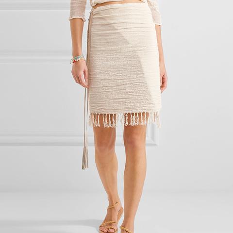 Leather-Trimmed Fringed Cotton-Gauze Skirt