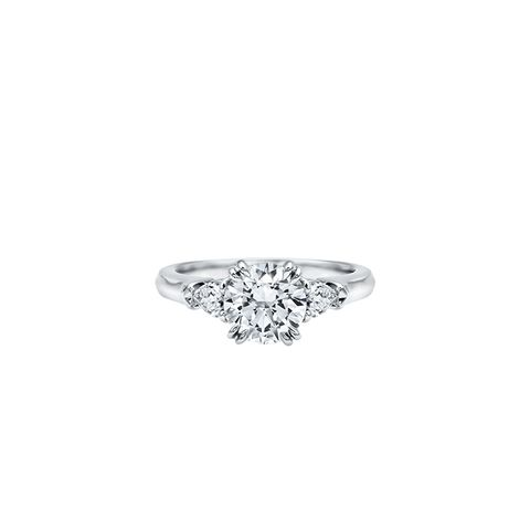 Round Brilliant Engagement Ring With Pear-Shaped Side Stones