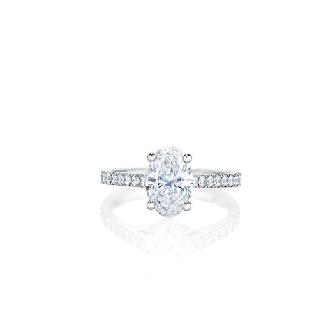 Classic Pave Oval Cut Solitaire Ring