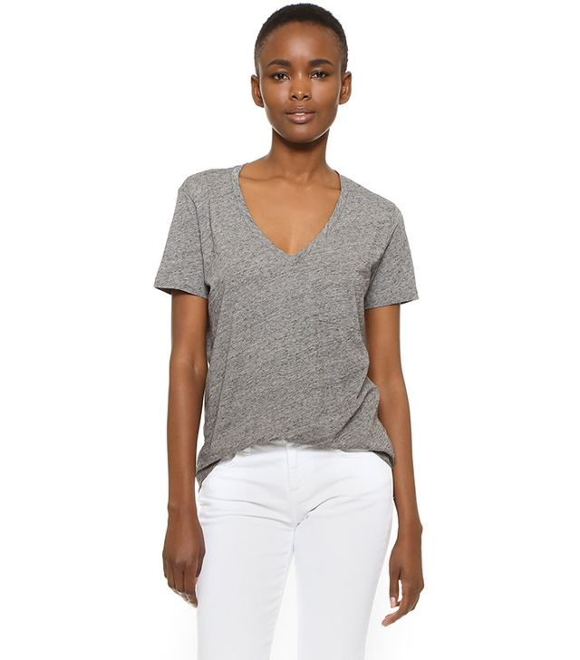 Whisper Cotton V Neck Pocket Tee