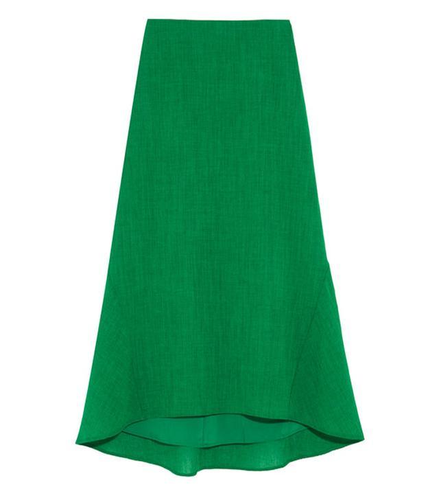 Cefinn Asymmetric Crepe Midi Skirt