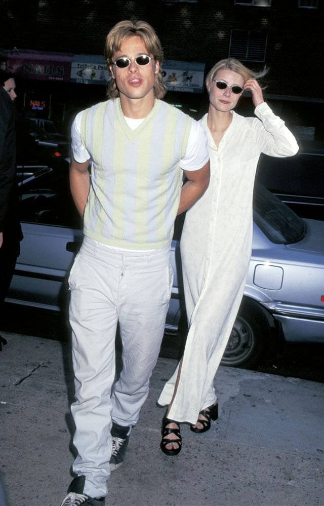 Gwyneth Paltrow '90s style: white dress and black heels