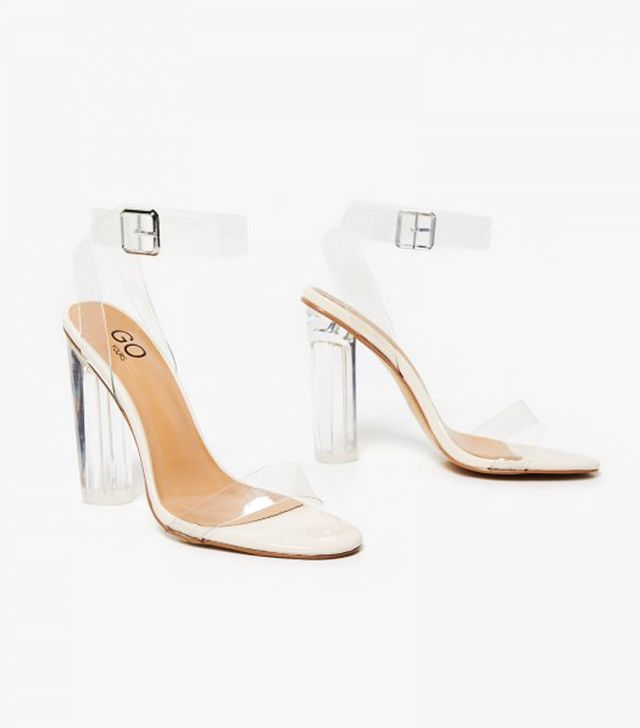 Best Clear Strap Shoes:Ariana Strappy Sandal In Clear Perspex