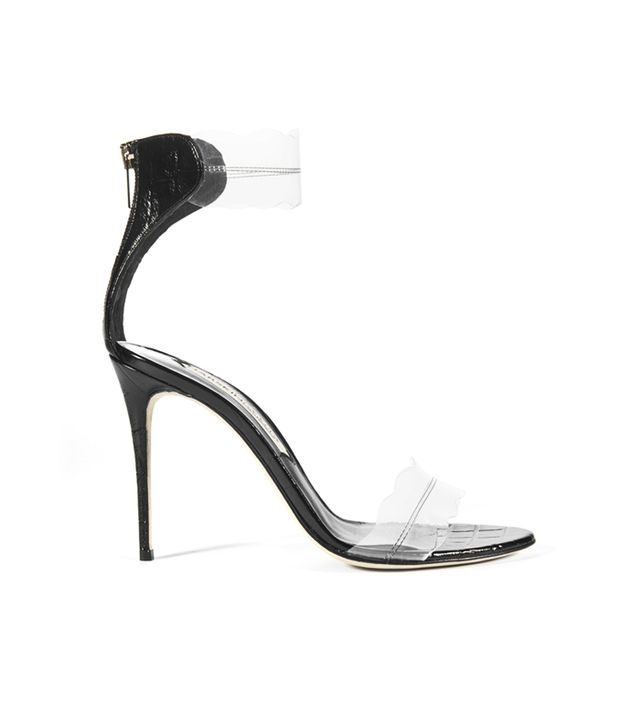 Best Clear Strap Shoes: Pauwau 85 Black Croc Printed Leather Sandals