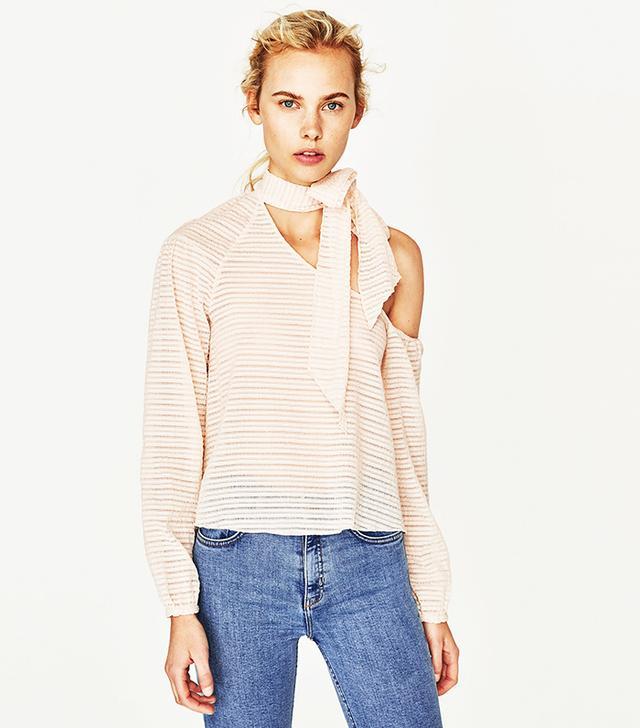 Zara Asymmetric Top With Neck Bow Details