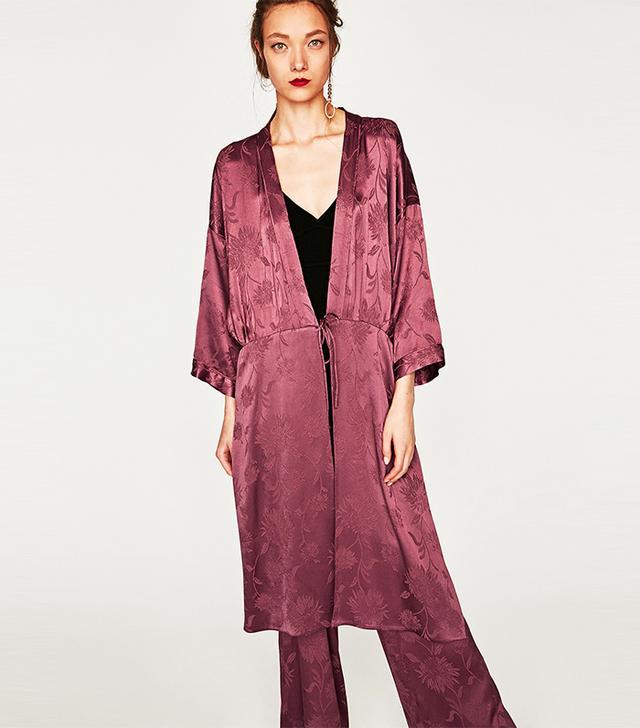 Zara Shimmery Jacquard Kimono Details