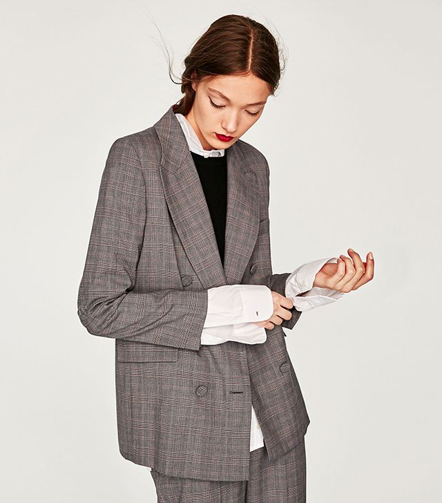 Zara Double Breasted Jacket With Lined Buttons