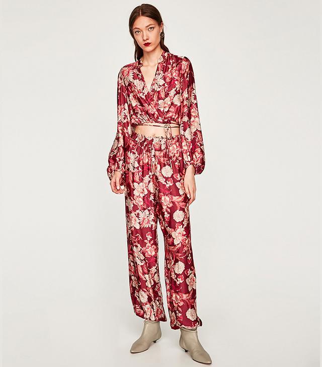 Zara Printed Trousers With Elastic Hem