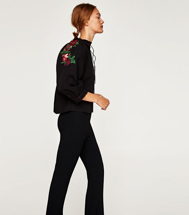 Zara Top With Embroidered Back