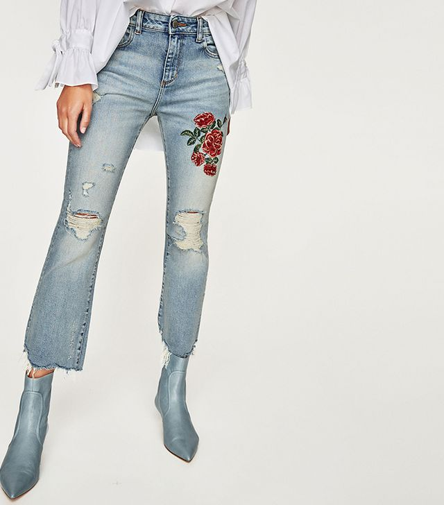Zara Embroidered Floral Jeans