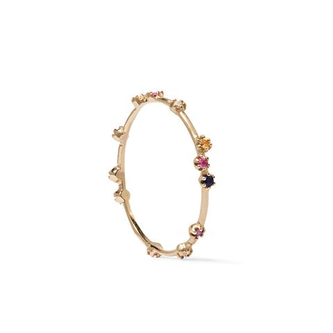 Tiny 14-Karat Gold Multi-Stone Ring